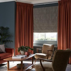 Curtains In Living Room Images Paint Scheme Ideas For Rooms Lounge Blackout Lined Thomas Sanderson Red Pencil Pleat With Matching Furniture