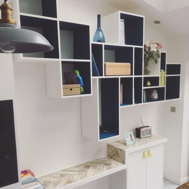 Floating shelving & reclaimed floorboard worktops