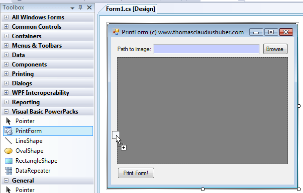 The PrintForm-Component in the Visual Basic Powerpack for Windows