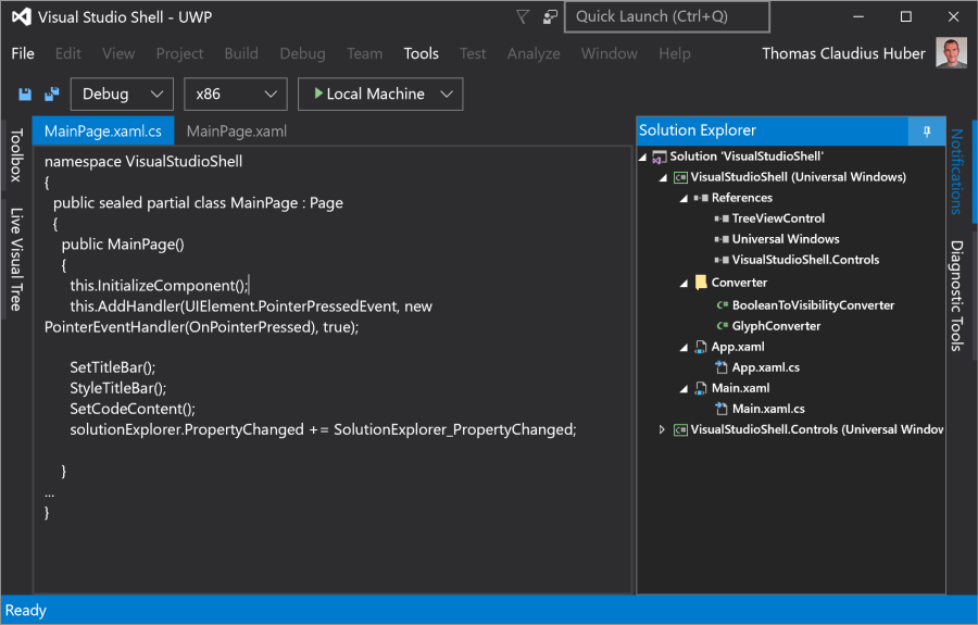 Lessons learned from Building a Visual Studio Shell with UWP