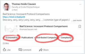"""LinkedIn Auto-Tag AI on Drugs: How does a post about protocol comparisons relate to """"economics"""", """"distributed computing"""" and """"complexity""""?"""