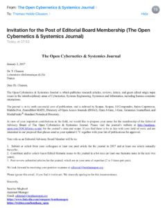 Bentham Editorial Board Invitation