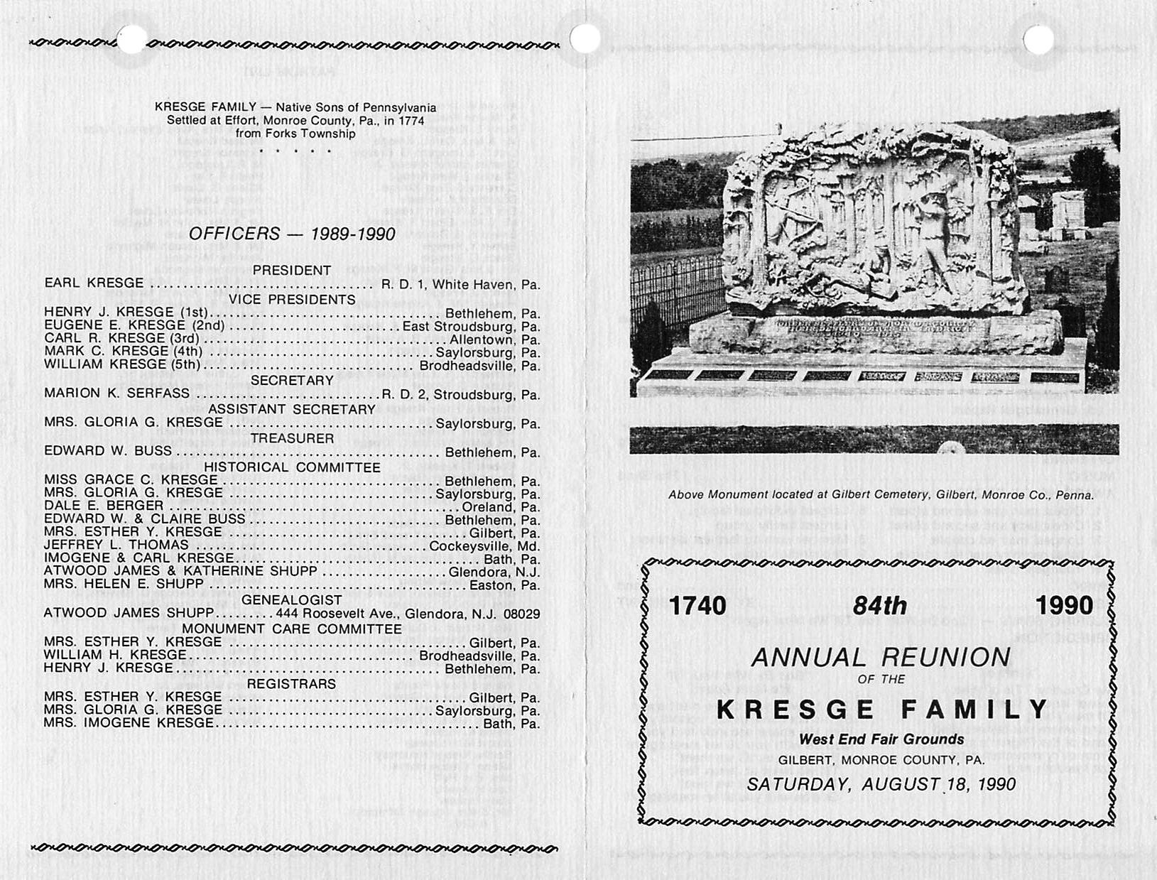 History of The Kresge Family Reunion