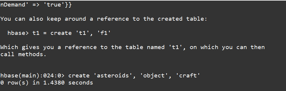 Create a Table in HBase