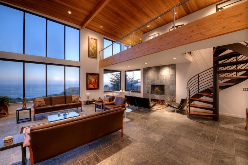 Dramatic living room at Sea Arches for sale by Thomas Henthorne Mendocino real estate