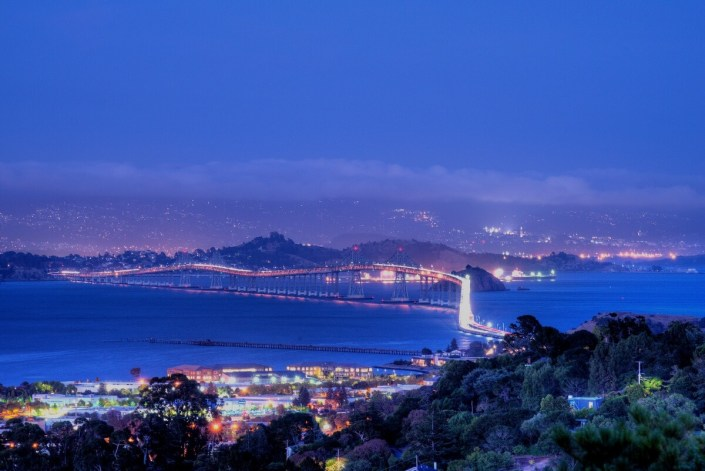 View of Richmond San Rafael bridge at night