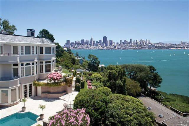 255 Golden Gate Ave Belvedere photo with city in the background and boats on the bay
