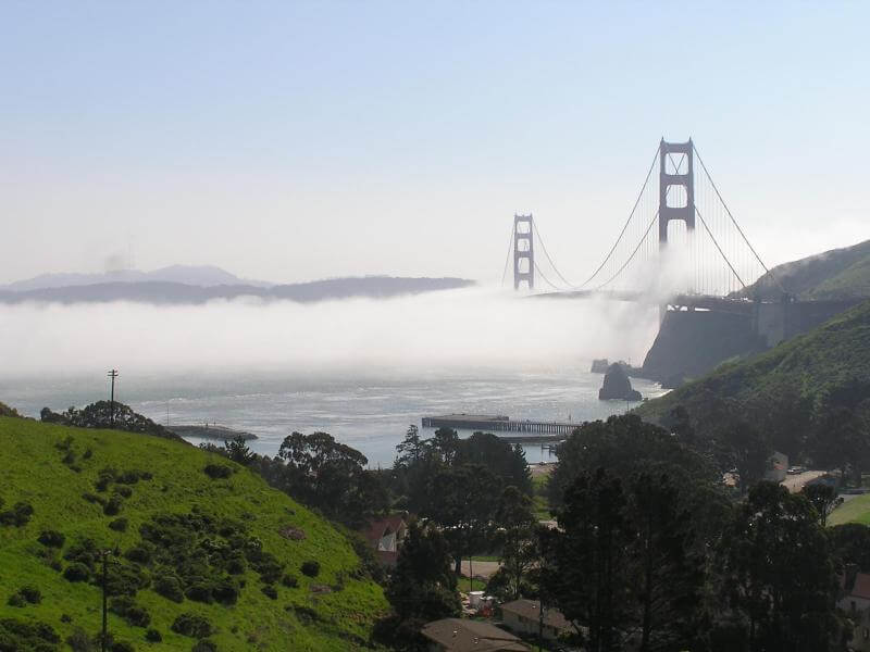 Photo of Fort Baker and Golden Gate Bridge with vista point parking top right
