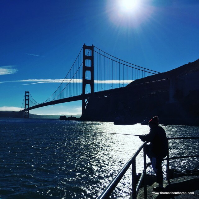 Vista Point Parking Fisheman and Golden Gate Bridge