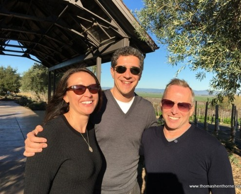 photo of top marin real estate agent thomas henthorne and luca and brenda in front of Ram;'s Gate