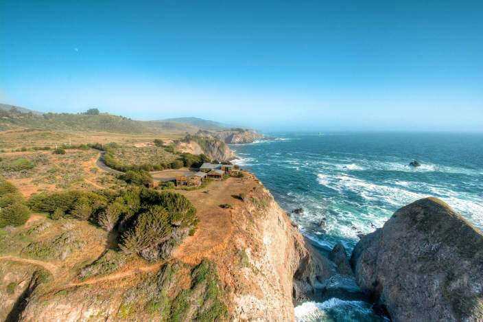 aerial view of mendocino coastal estate for sale sea arches