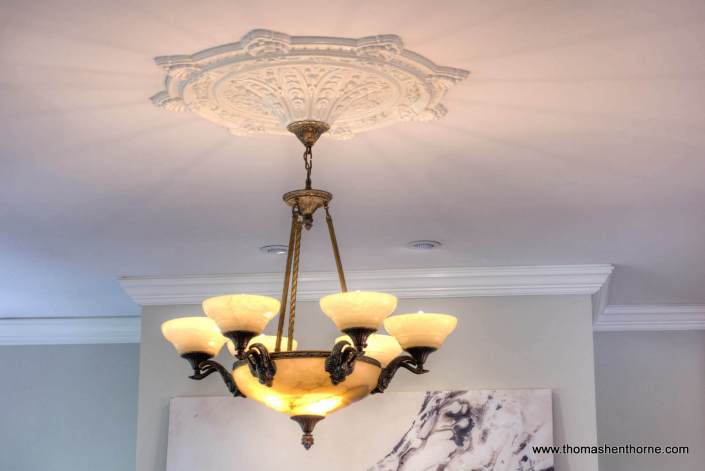 ceiling fixture in family room with ceiling medallion