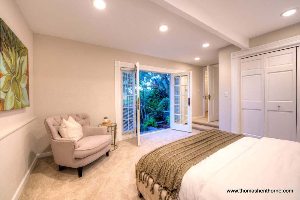 downstairs bedroom with french doors