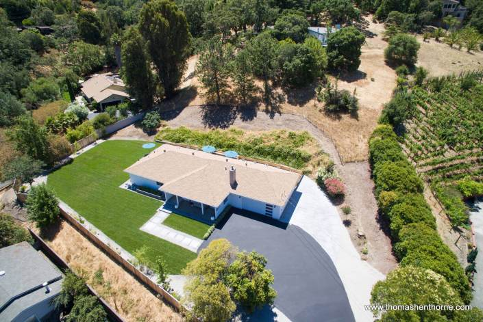 Aerial view of 65 Los Ranchitos Road San Rafael