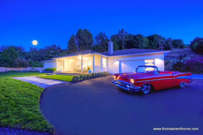 Front driveway of 65 Los Ranchitos Road San Rafael and 57 Chevy with Full Moon