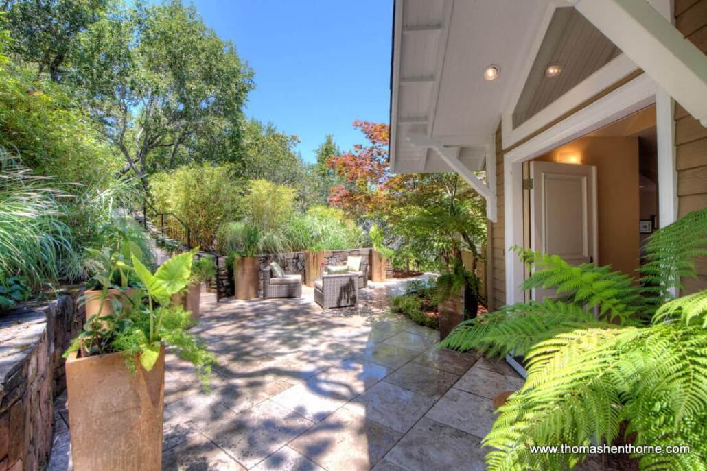Front entrance photo with garden