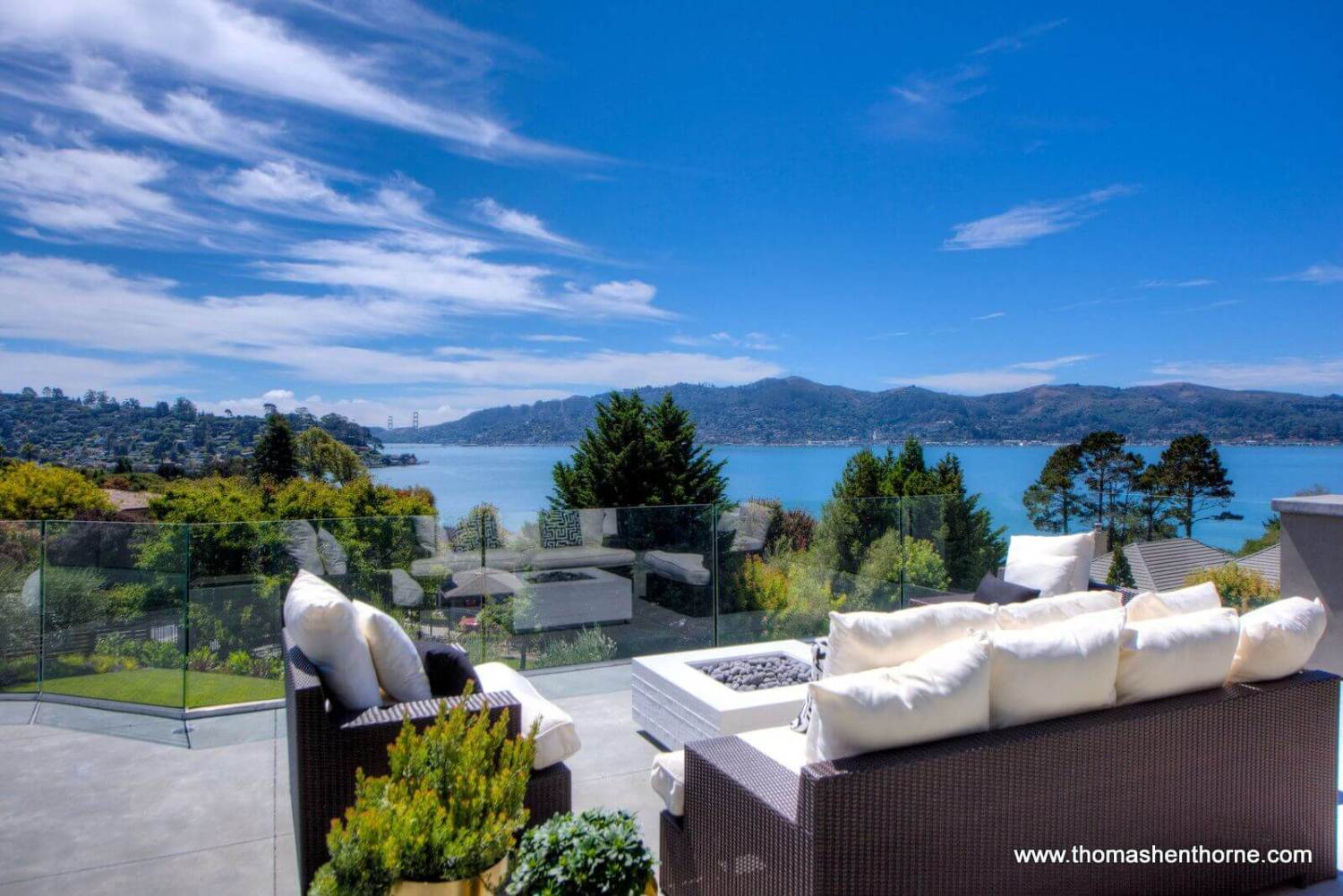 Terrace with view of bay