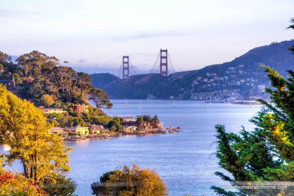 view of Golden Gate bridge and bay
