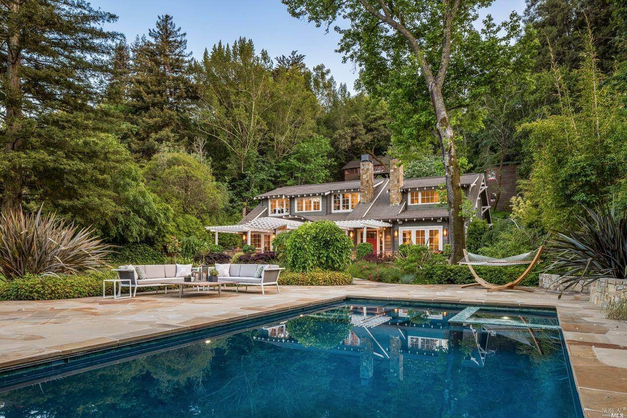 Pool view of 170 Laurel Grove Avenue in Ross California