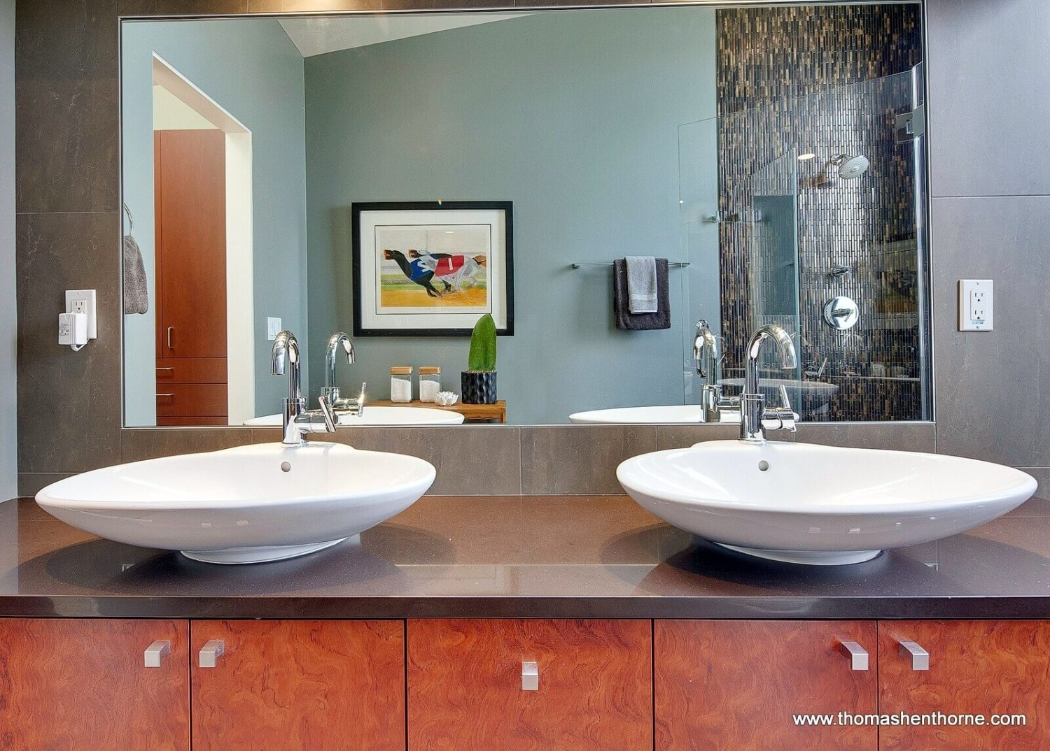 Master bathroom dual vessel sinks