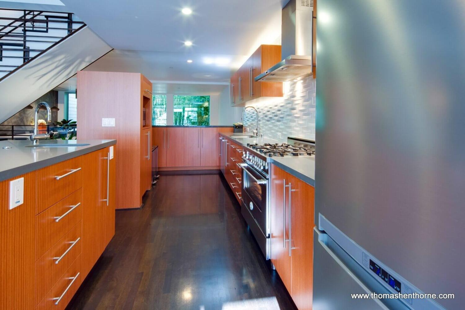 Stainless appliances in kitchen and cabinetry