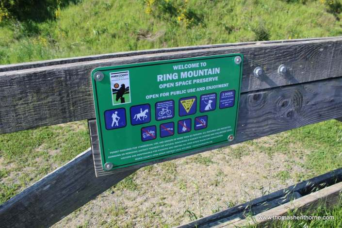 Sign with rules of the Ring Mountain Trail