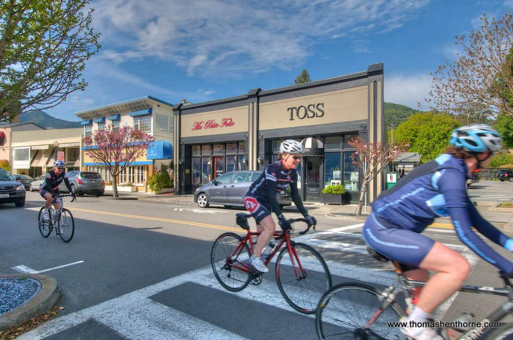 Downtown San Anselmo shops & bicyclists