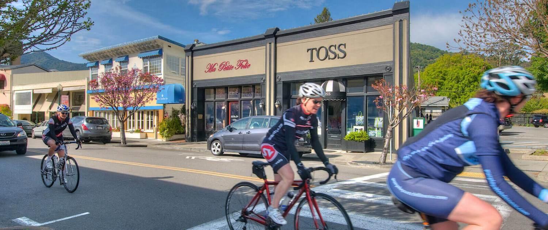 Downtown San Anselmo shops & bicyclists