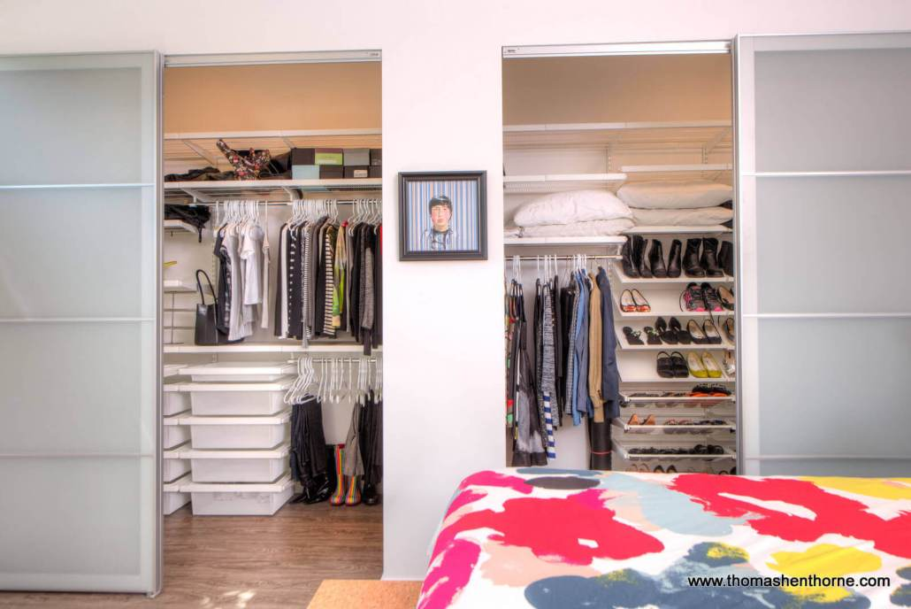 dual closets in master bedroom