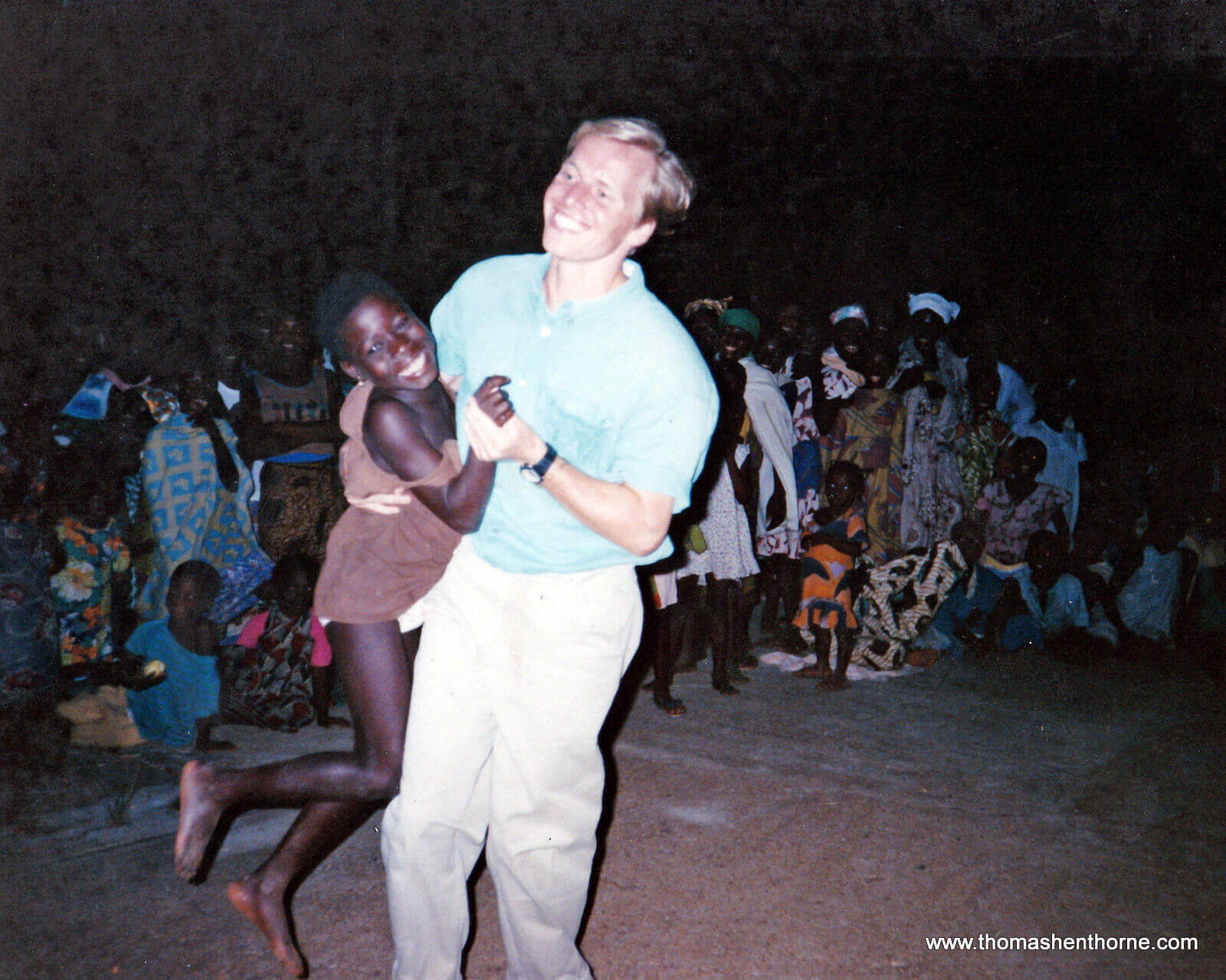 Peace Corps Volunteer Thomas Henthorne Dancing at the American/Togolese Fete