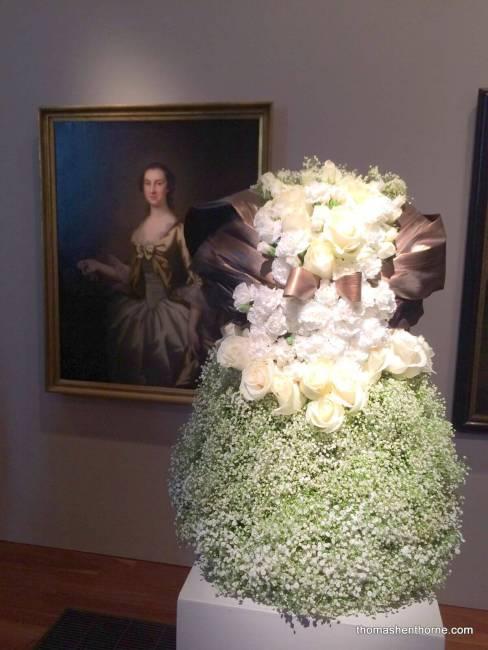 Flower arrangement that looks like a dress