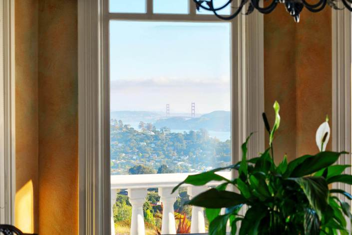 View through window of Golden Gate Bridge