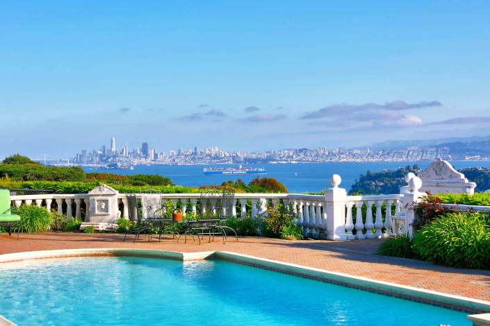 View of pool and San Francisco skyline