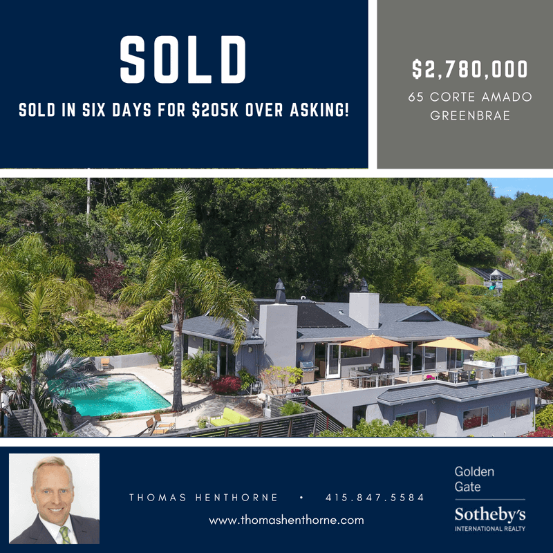 65 Corte Amado in Greenbrae California Sold Banner