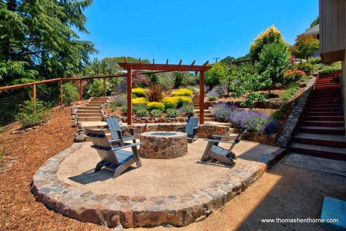 View of Firepit and Stairs