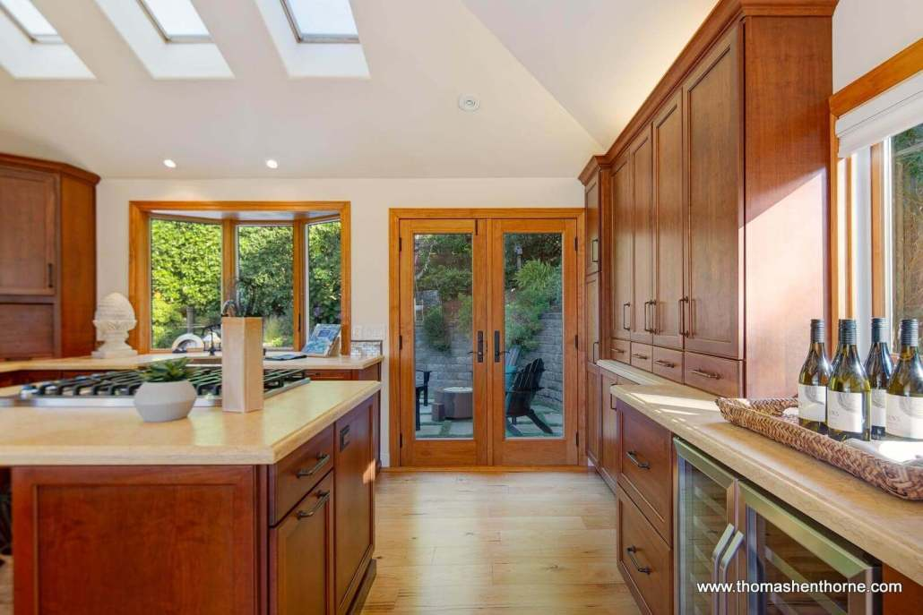 Kitchen with French doors to backyard