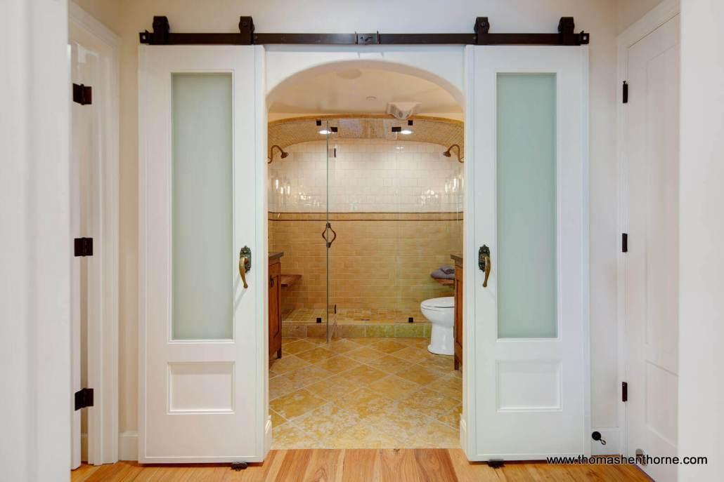 barn doors on master bathroom