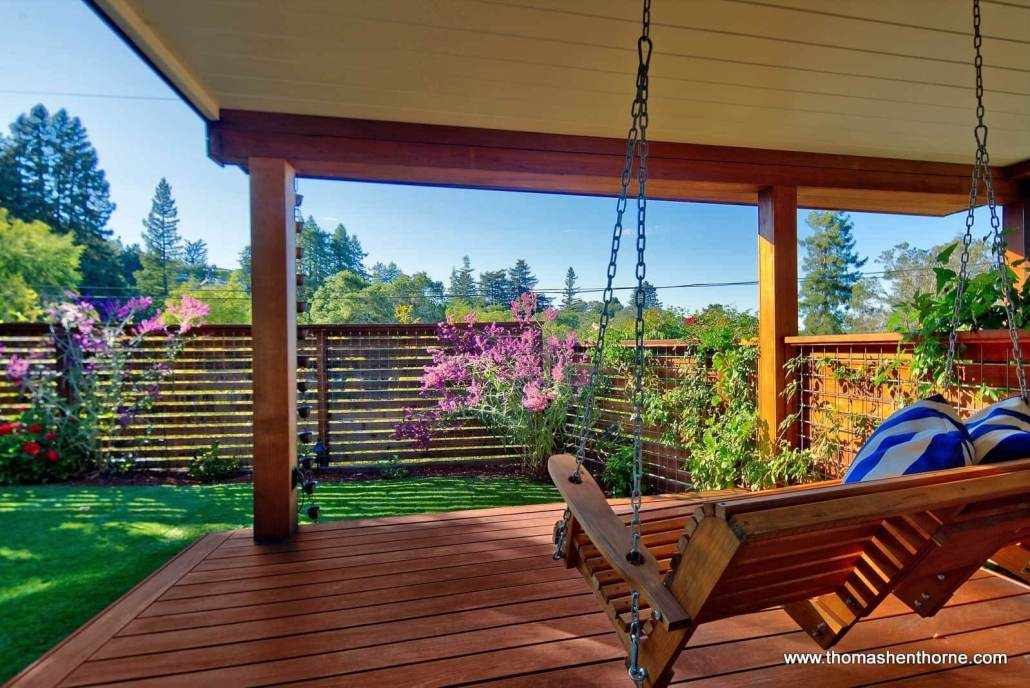 Porch swing and lawn