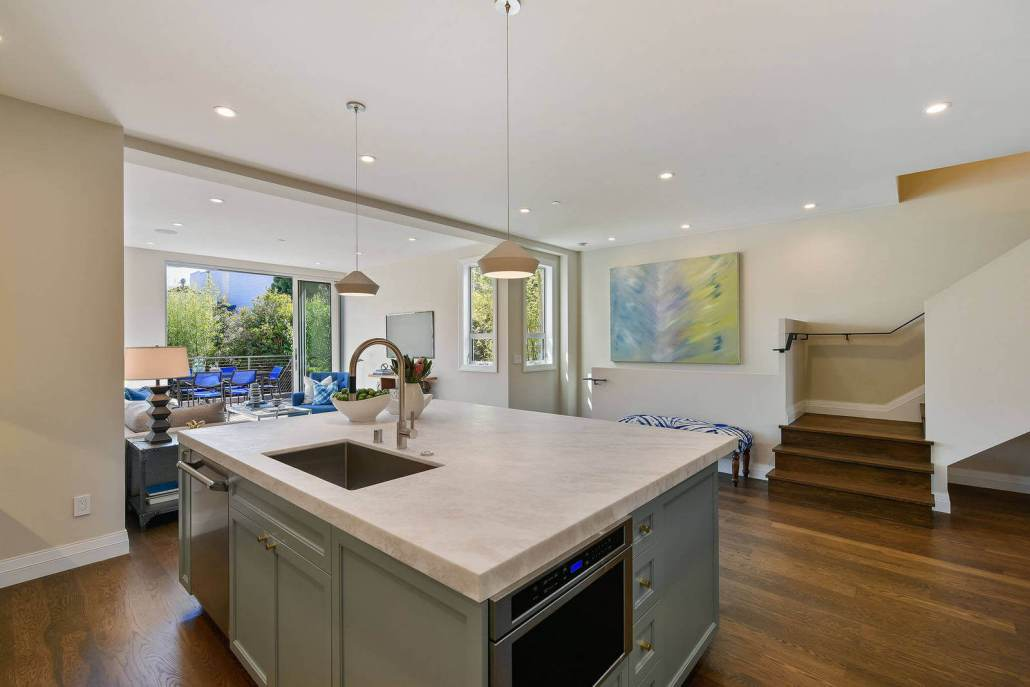 Kitchen island with marble counters
