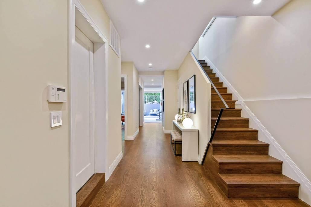 Wood stairway in modern home