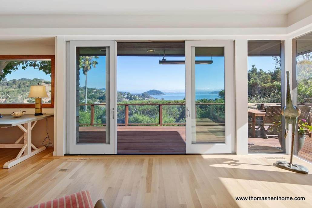 Sliding door out to view deck