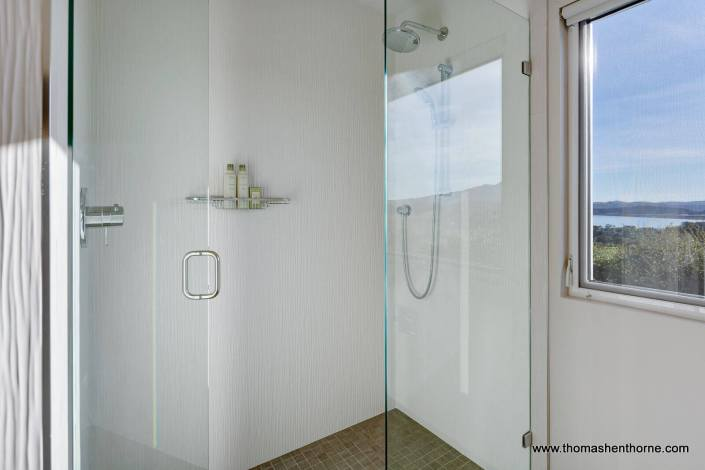 Modern glass surrounded shower