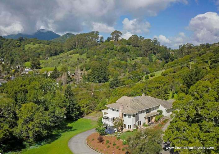 aerial view of 208 Benson Circle Mill Valley