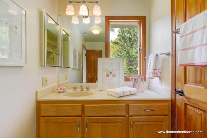 Sink and vanity in bathroom