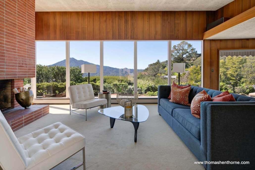 Midcentury modern living room with windows