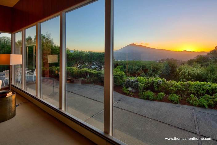 View of Mt. Tamalpais through windows at 145 Bret Harte Road