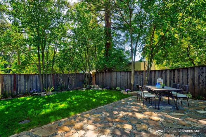 Patio and shaded lawn