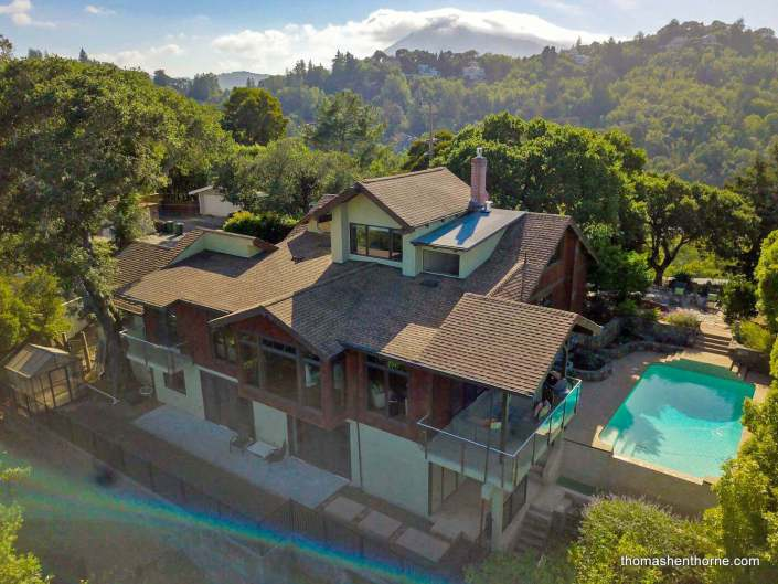 Rear aerial view of 204 Southern Heights in San Rafael, California