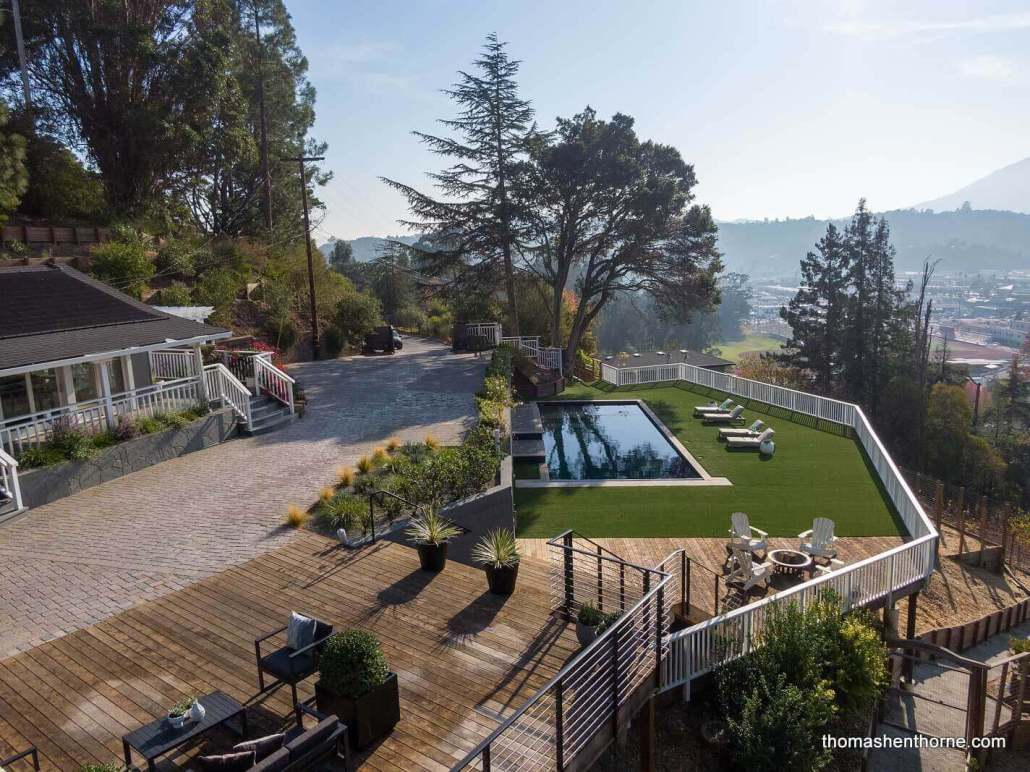 Aerial view of 35 West Seaview Avene in San Rafael