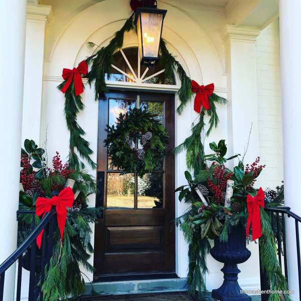 Front door decorated for holidays